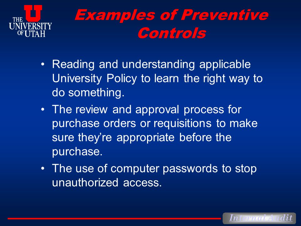 Examples of Preventive Controls