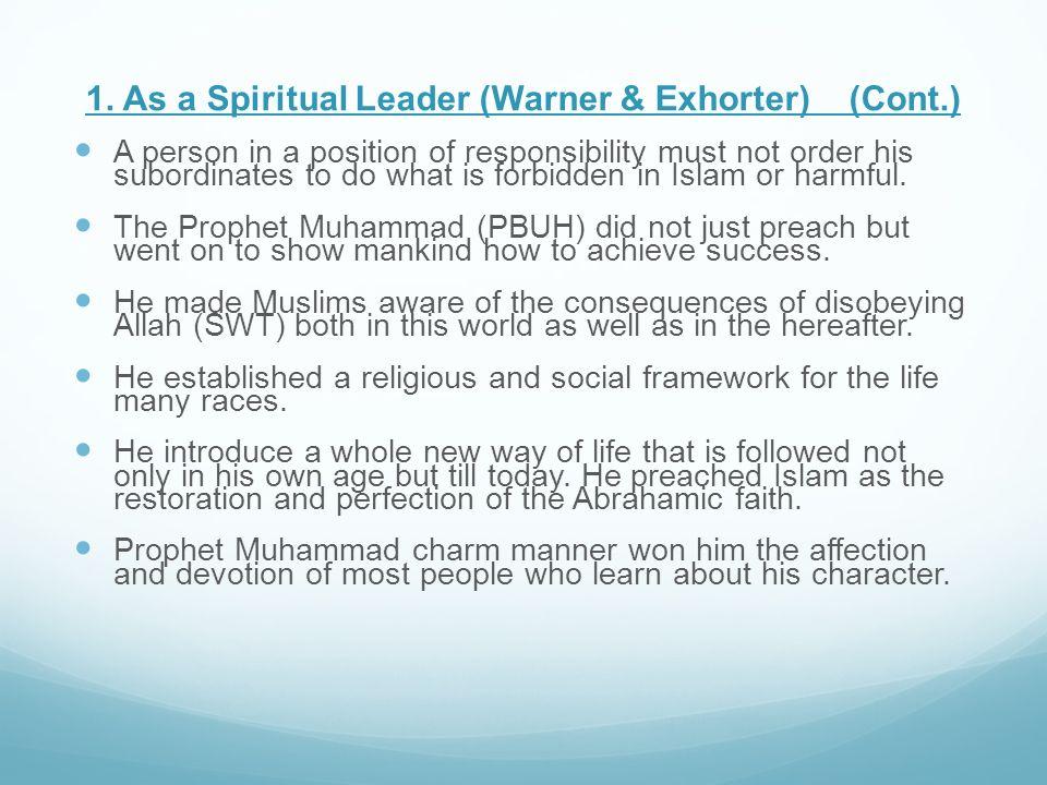 1. As a Spiritual Leader (Warner & Exhorter) (Cont.)