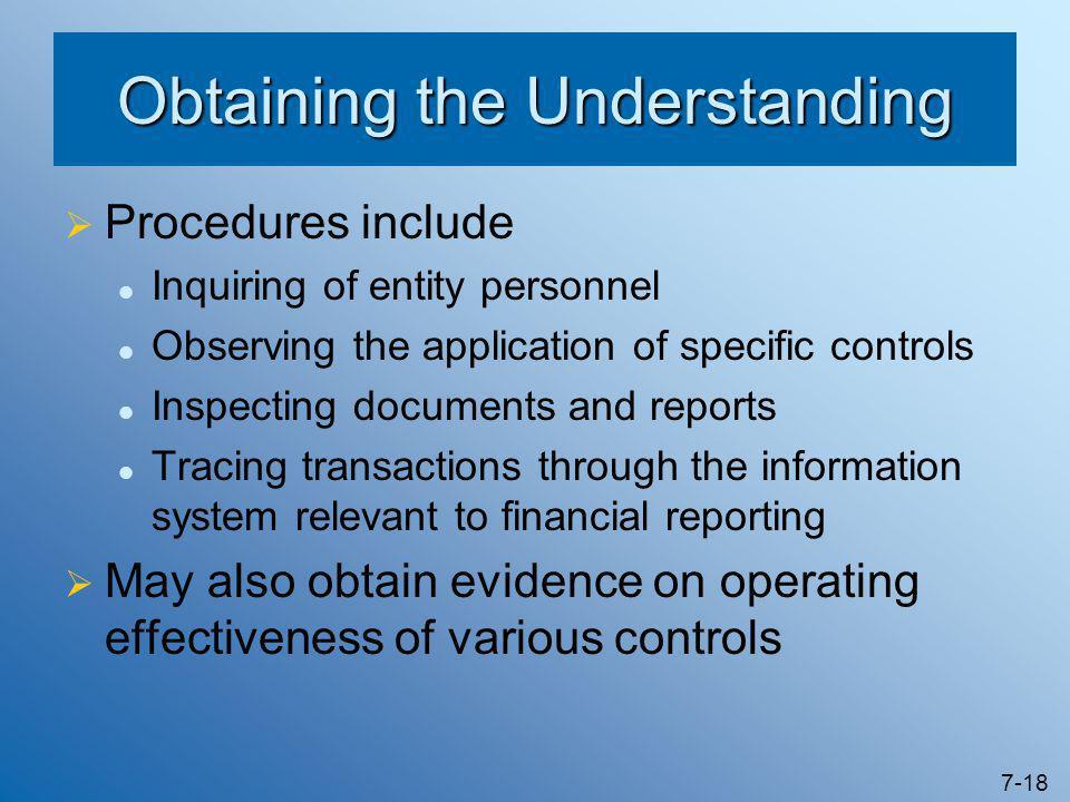 Obtaining the Understanding
