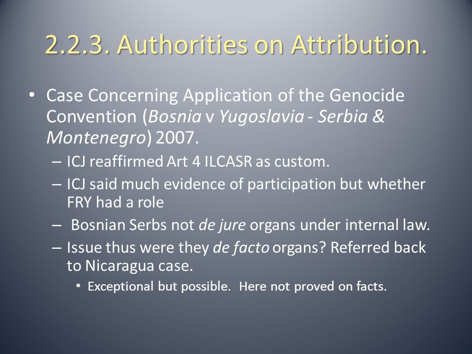 2.2.3. Authorities on Attribution.