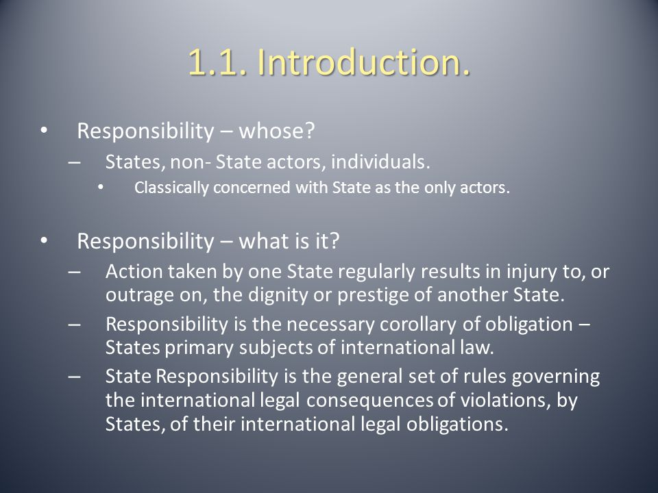 1.1. Introduction. Responsibility – whose