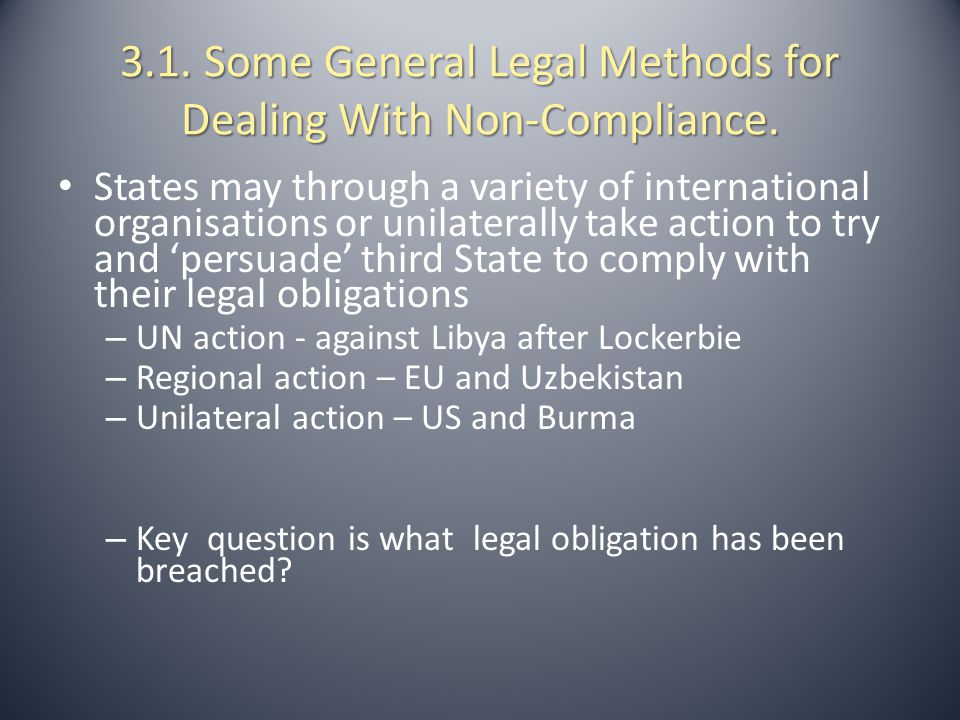 3.1. Some General Legal Methods for Dealing With Non-Compliance.