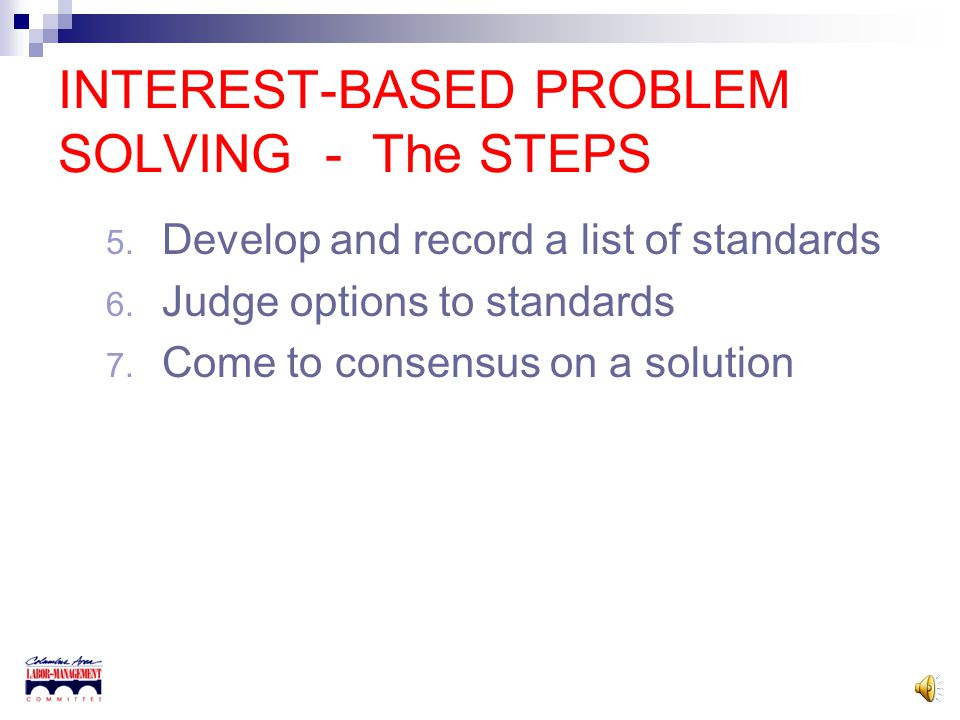 INTEREST-BASED PROBLEM SOLVING - The STEPS