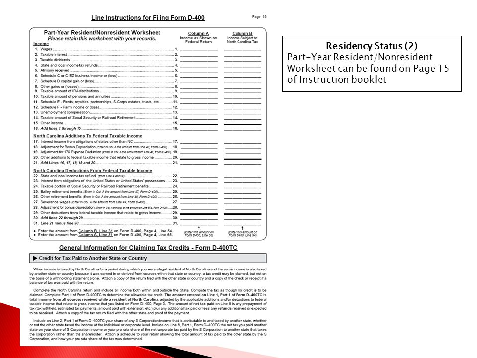 Residency Status (2) Part-Year Resident/Nonresident Worksheet can be found on Page 15 of Instruction booklet.