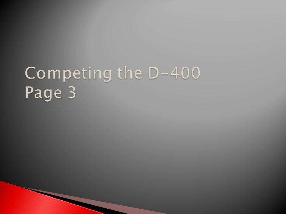 Competing the D-400 Page 3