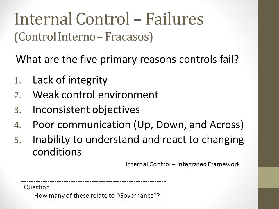 Internal Control – Failures
