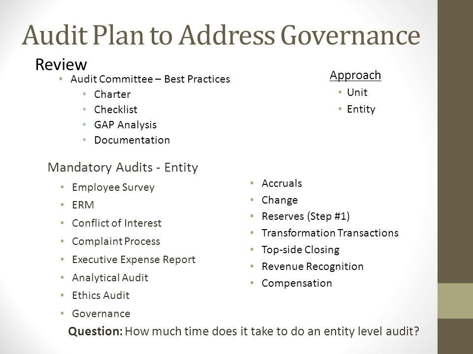 Audit Plan to Address Governance