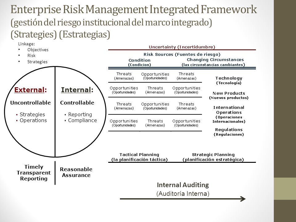 Enterprise Risk Management Integrated Framework (gestión del riesgo institucional del marco integrado) (Strategies) (Estrategias)