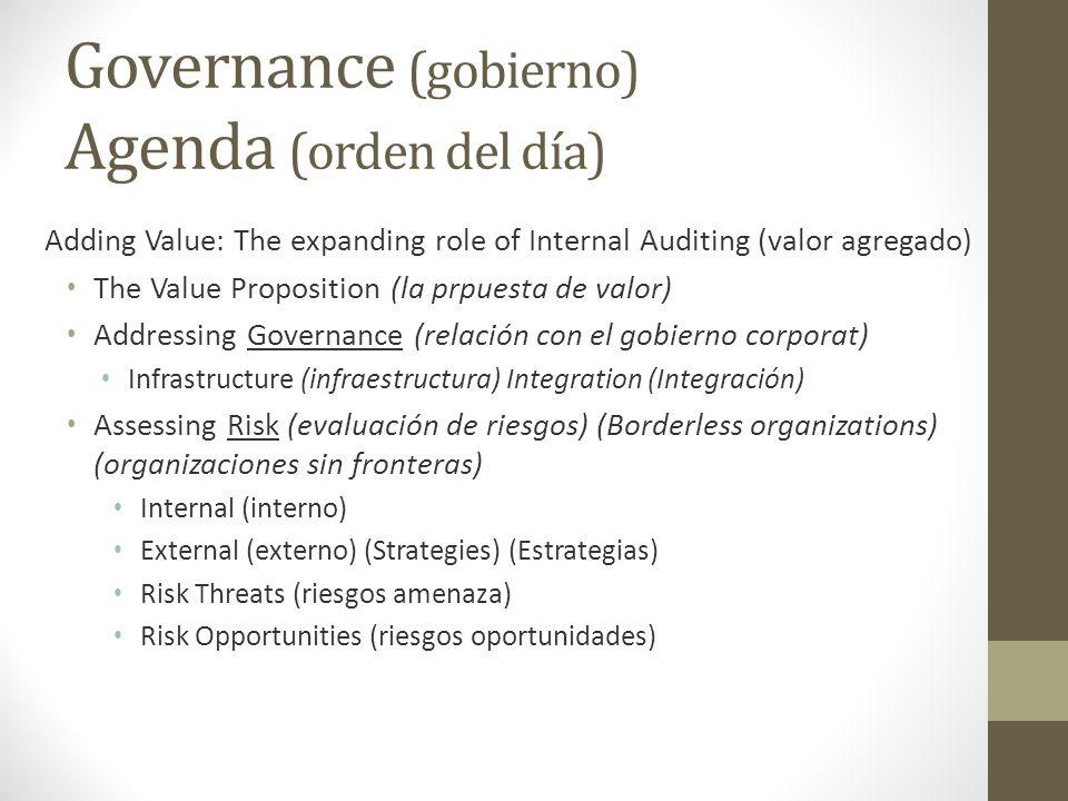 Governance (gobierno) Agenda (orden del día)