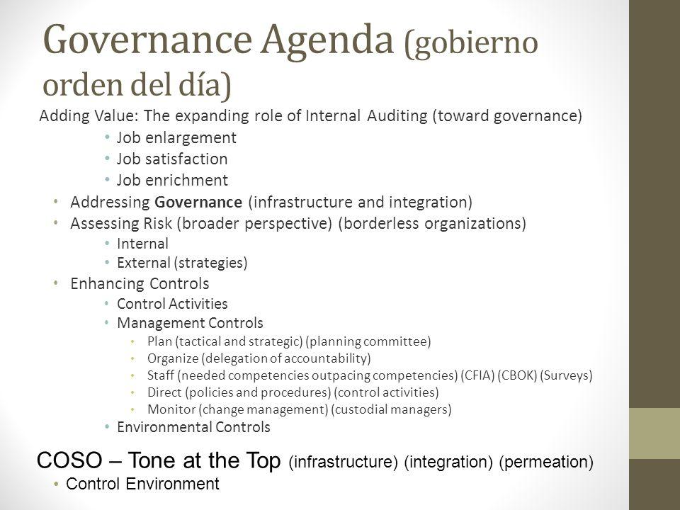 Governance Agenda (gobierno orden del día)