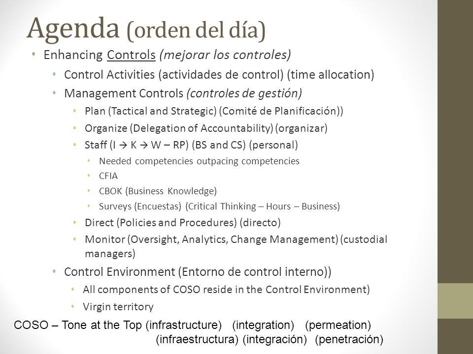 Agenda (orden del día) Enhancing Controls (mejorar los controles)