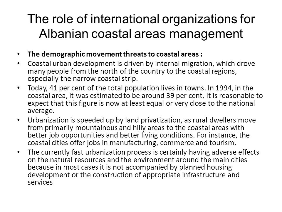 The role of international organizations for Albanian coastal areas management