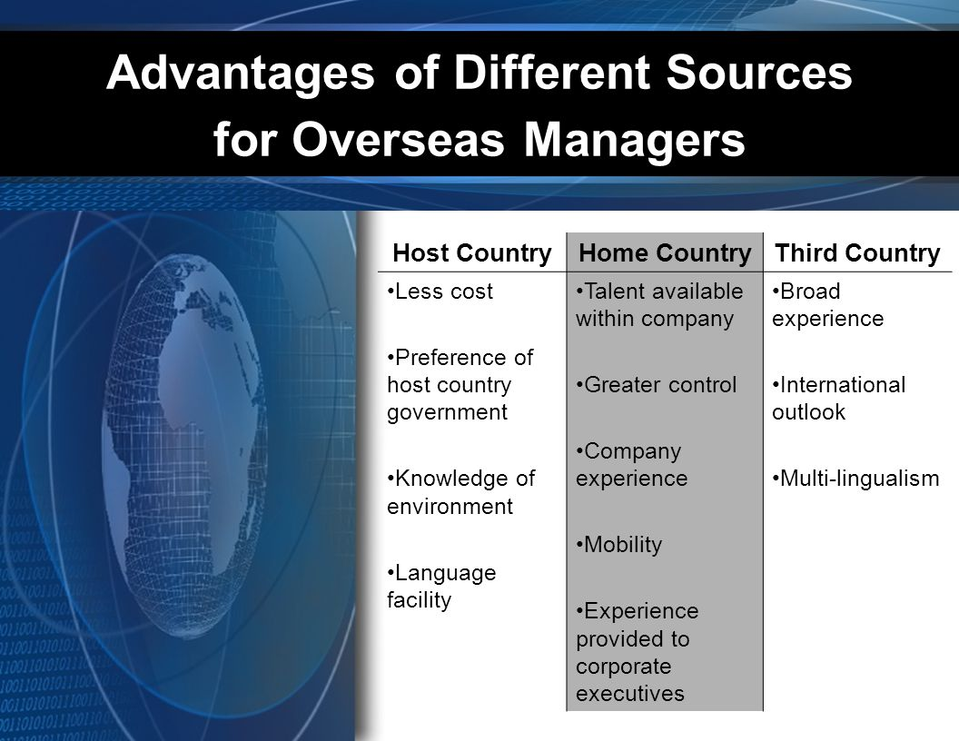 Advantages of Different Sources for Overseas Managers