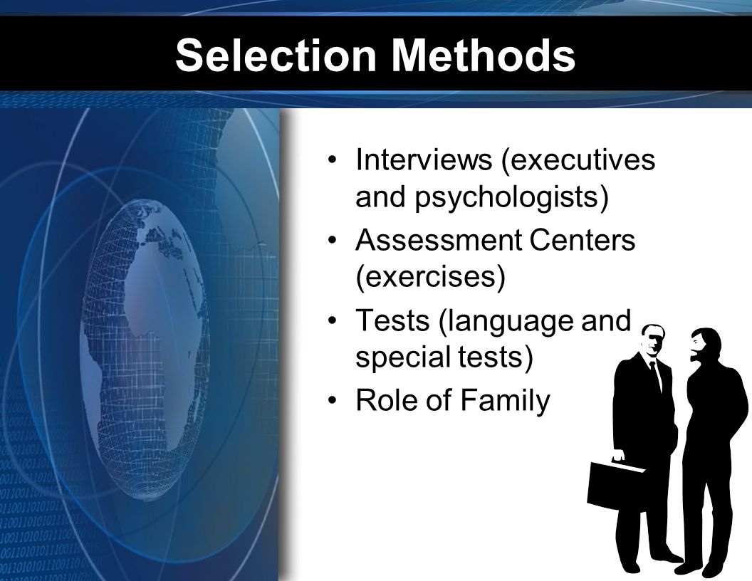 Selection Methods Interviews (executives and psychologists)