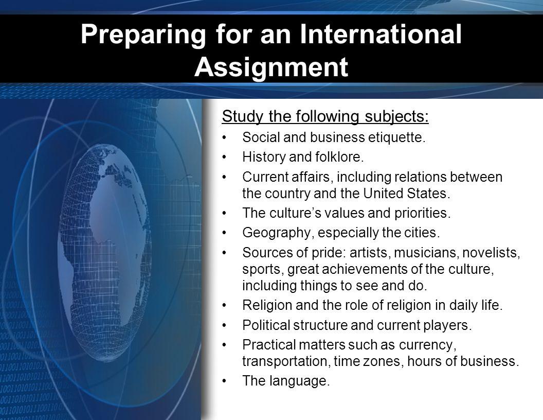 Preparing for an International Assignment