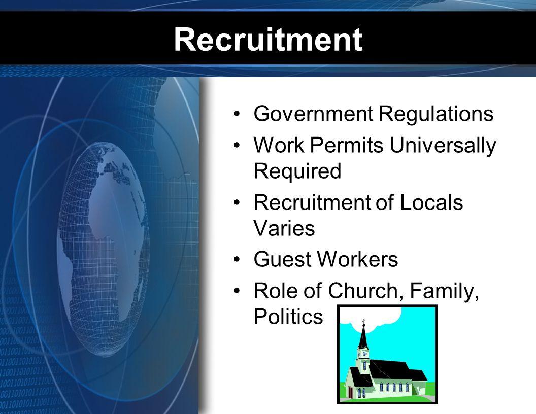 Recruitment Government Regulations Work Permits Universally Required