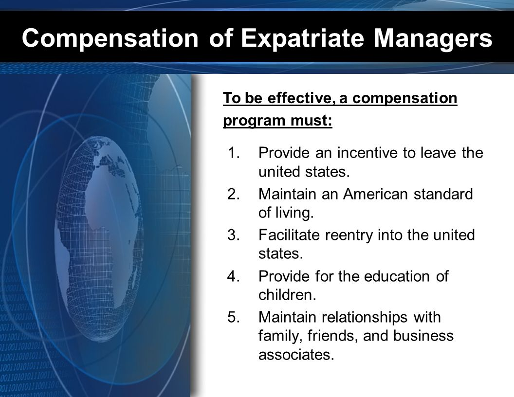 Compensation of Expatriate Managers