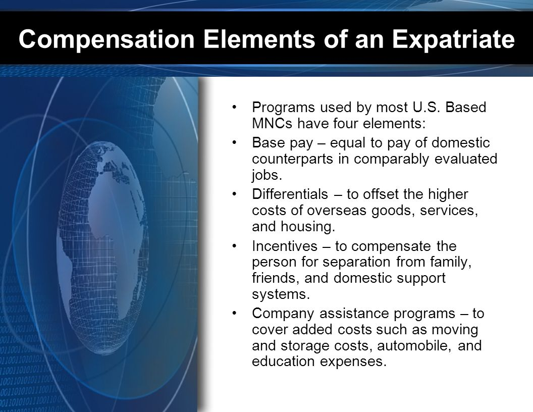 Compensation Elements of an Expatriate