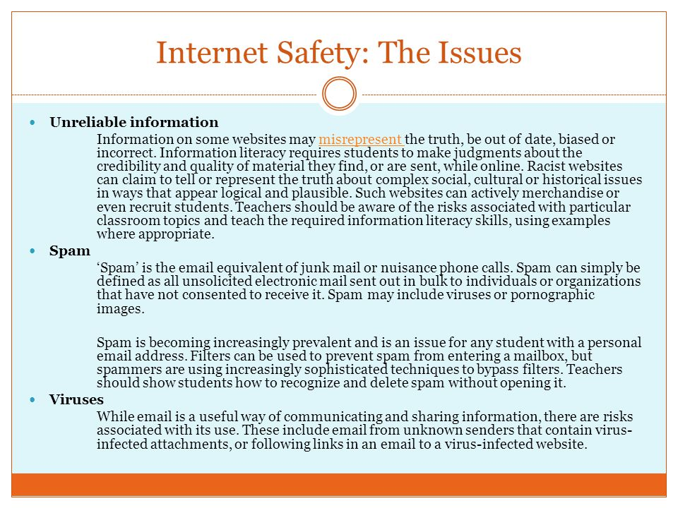 Internet Safety: The Issues