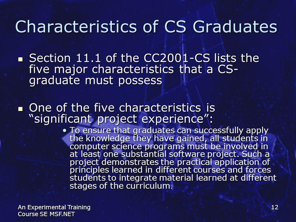 Characteristics of CS Graduates