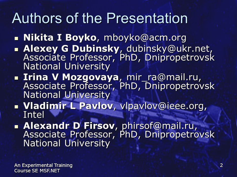 Authors of the Presentation