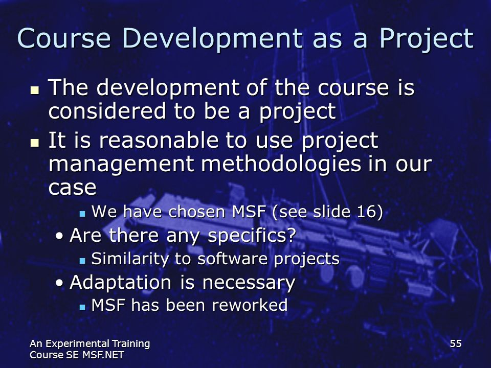 Course Development as a Project