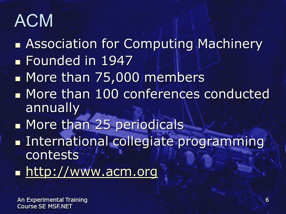 ACM Association for Computing Machinery Founded in 1947