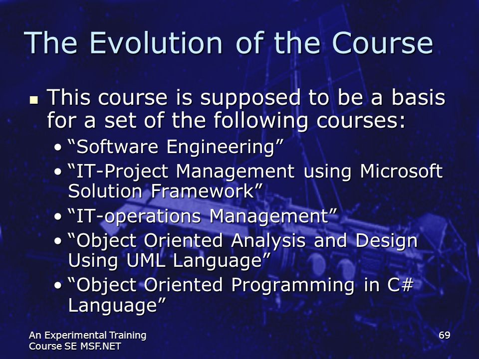 The Evolution of the Course