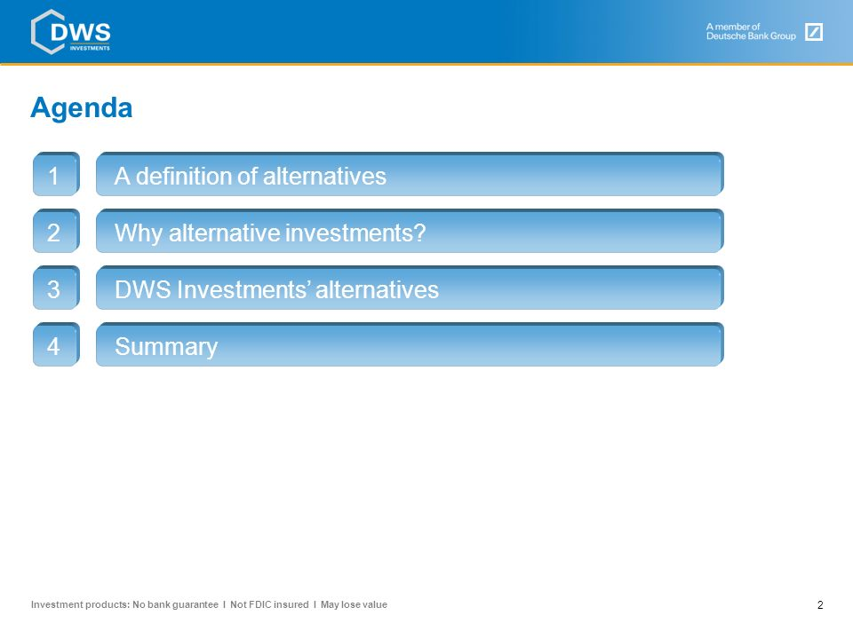 Agenda A definition of alternatives 1 2 Why alternative investments 3