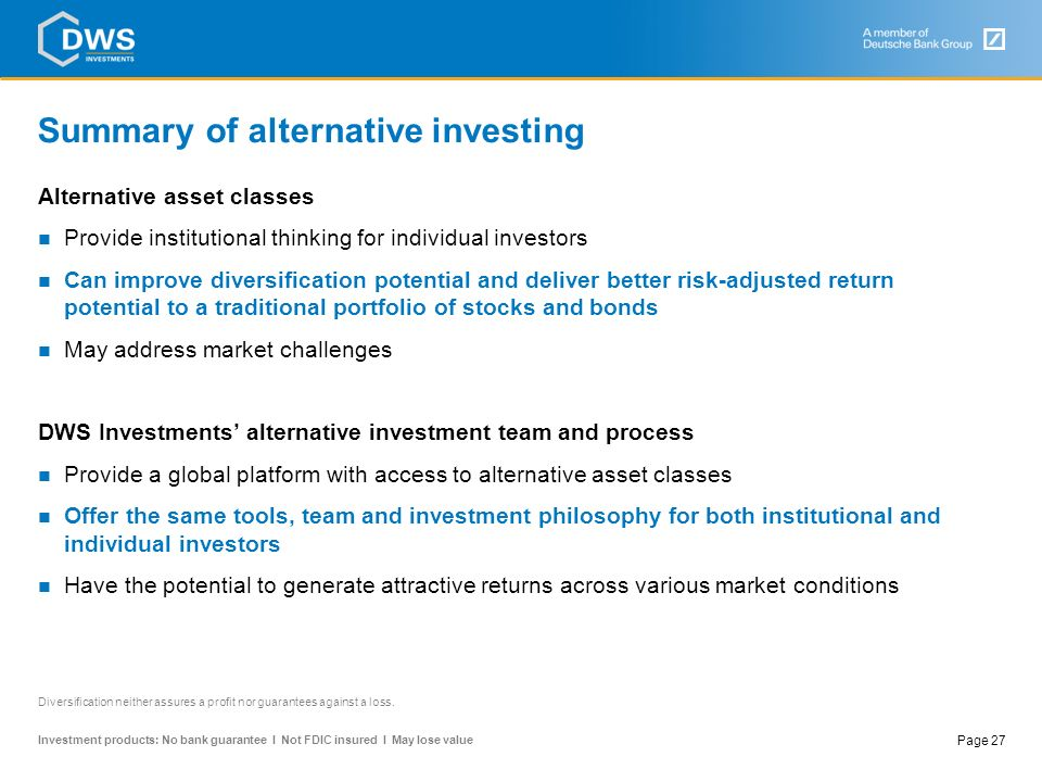 Summary of alternative investing