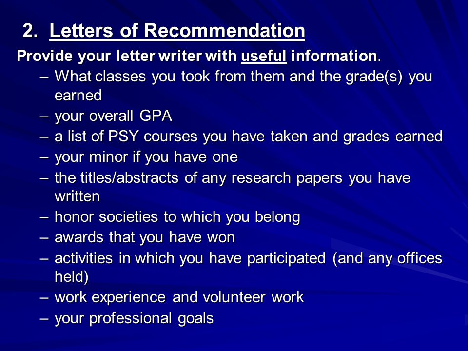 2. Letters of Recommendation