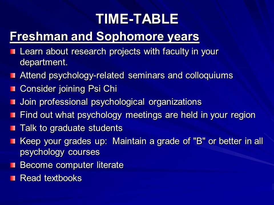 TIME-TABLE Freshman and Sophomore years