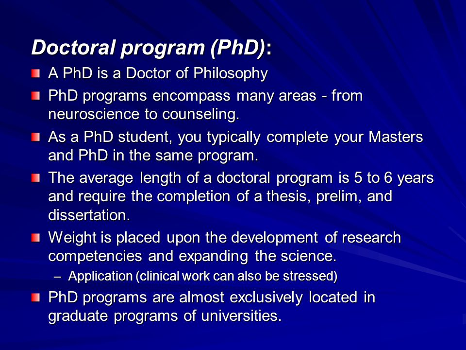 Doctoral program (PhD):