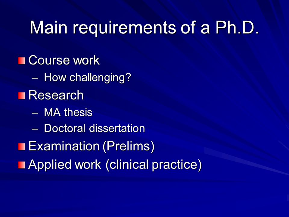Main requirements of a Ph.D.