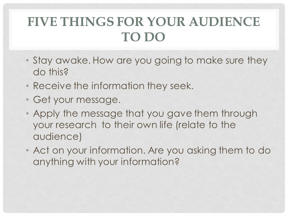 Five things for your audience to do