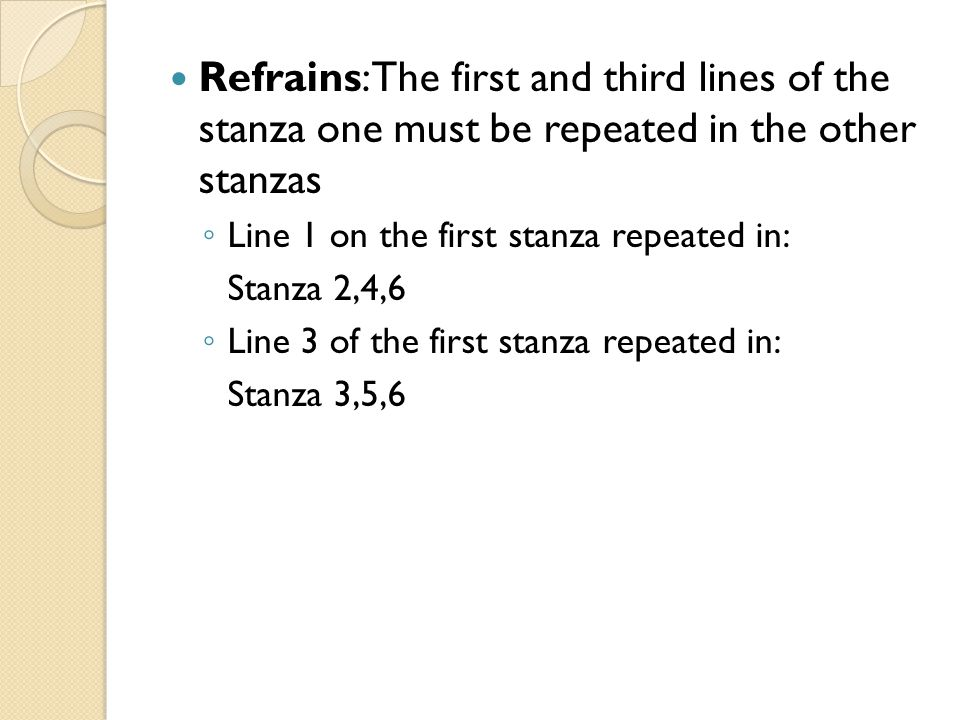 Refrains: The first and third lines of the stanza one must be repeated in the other stanzas