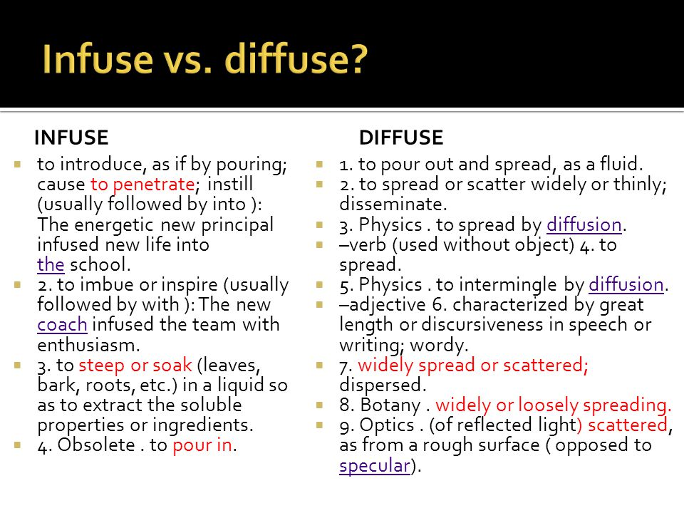 Infuse vs. diffuse infuse diffuse