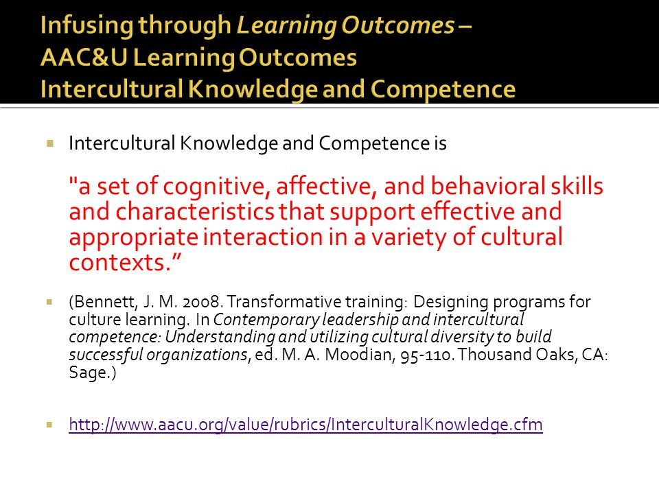 Infusing through Learning Outcomes – AAC&U Learning Outcomes Intercultural Knowledge and Competence