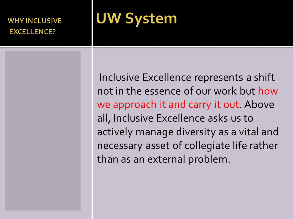 WHY INCLUSIVE UW System EXCELLENCE