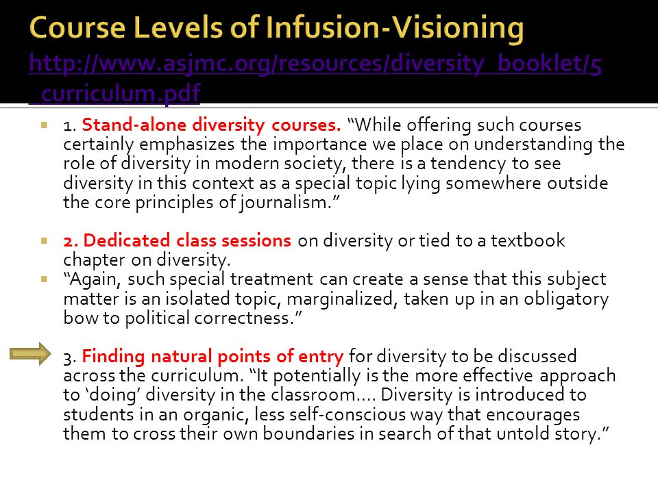 Course Levels of Infusion-Visioning http://www. asjmc