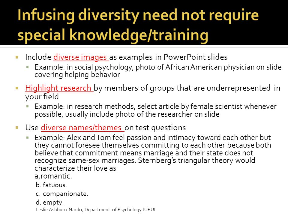 Infusing diversity need not require special knowledge/training