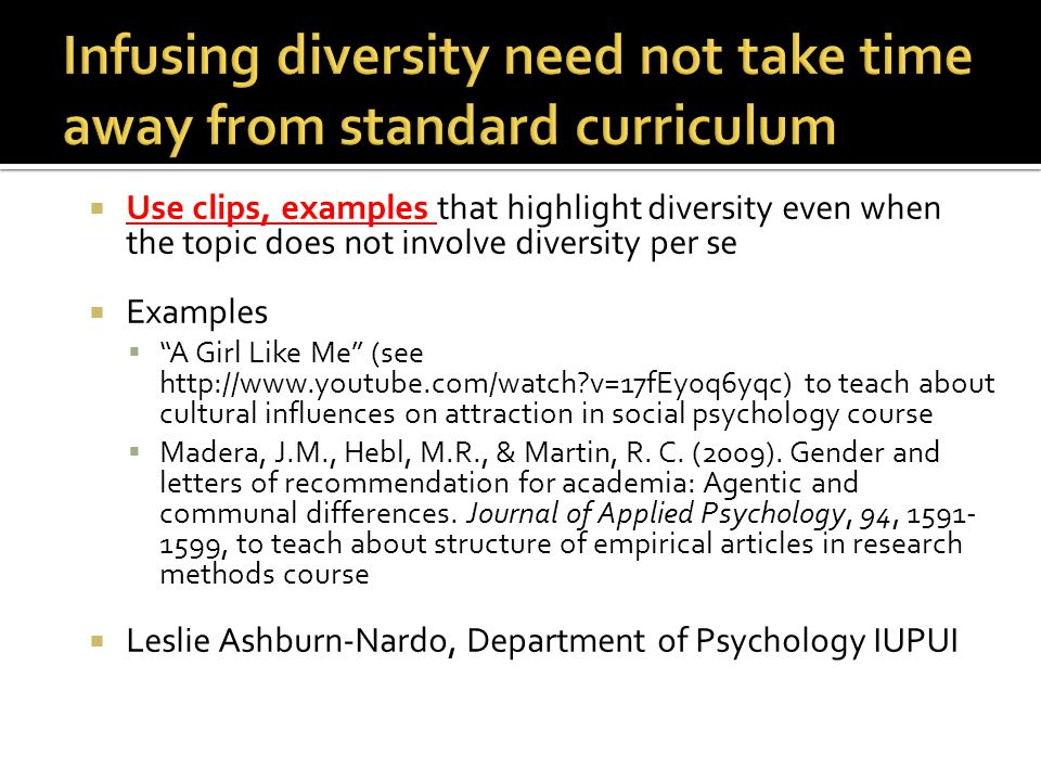 Infusing diversity need not take time away from standard curriculum