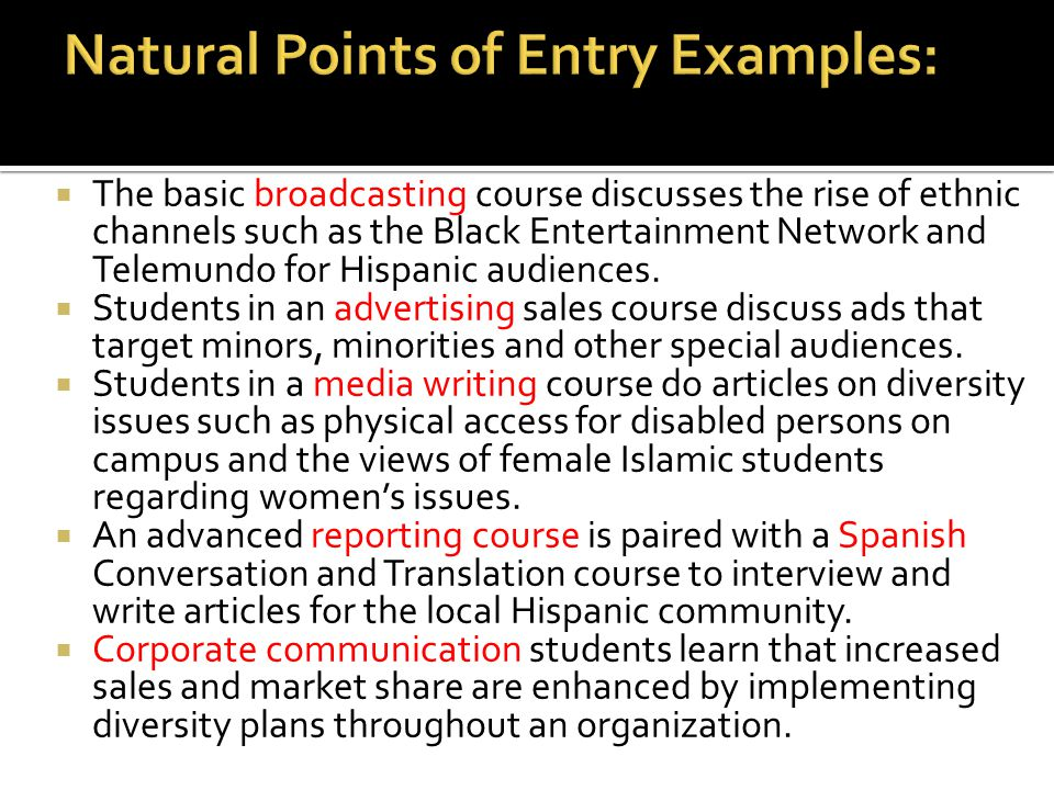 Natural Points of Entry Examples: