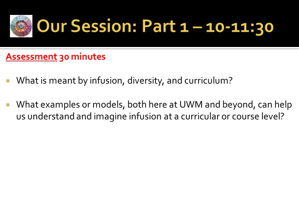 Our Session: Part 1 – 10-11:30 Assessment 30 minutes