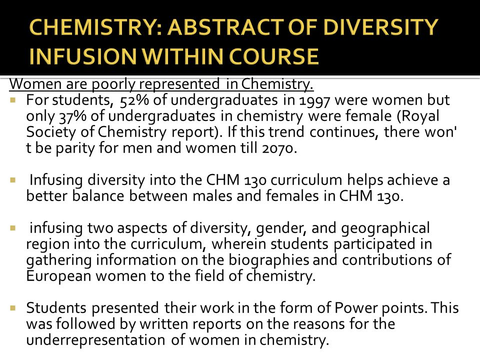 CHEMISTRY: ABSTRACT OF DIVERSITY INFUSION WITHIN COURSE