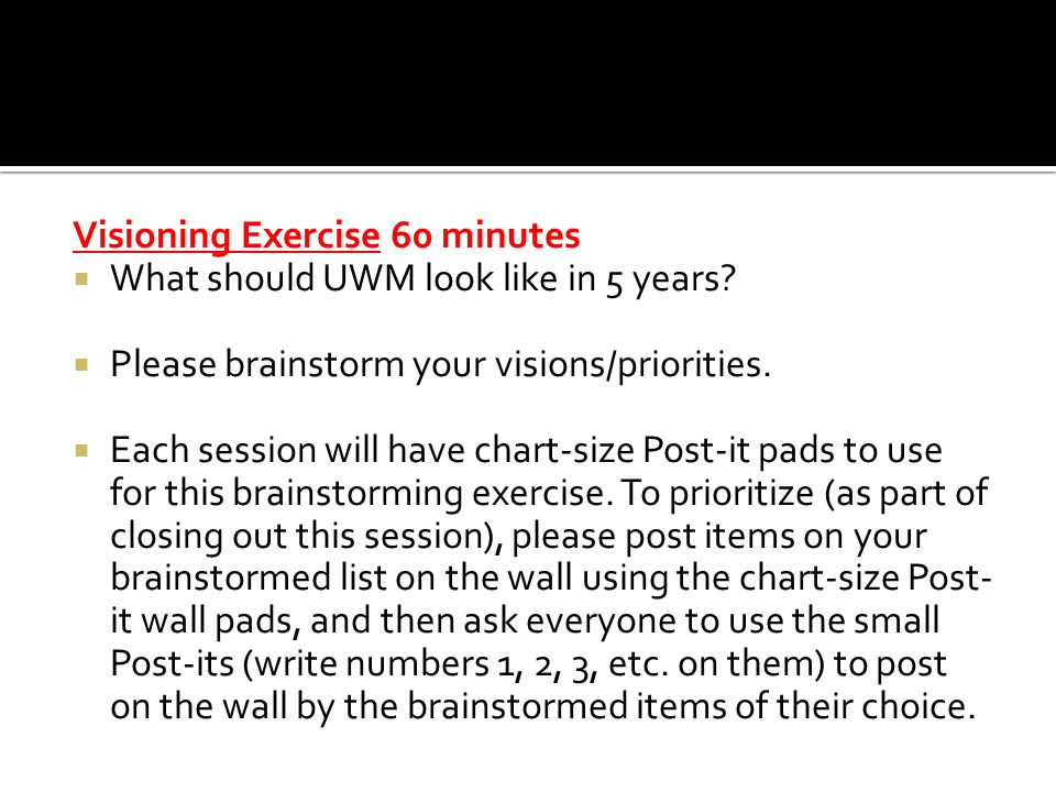 Visioning Exercise 60 minutes