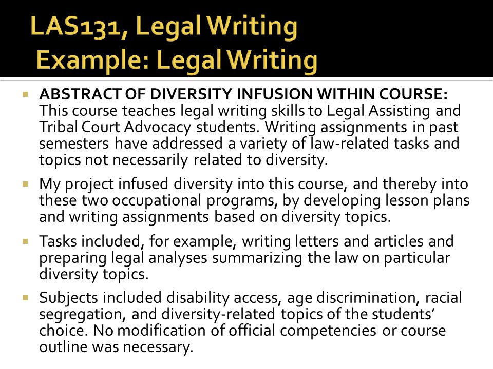 LAS131, Legal Writing Example: Legal Writing
