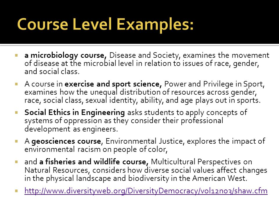 Course Level Examples: