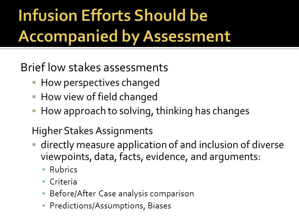 Infusion Efforts Should be Accompanied by Assessment