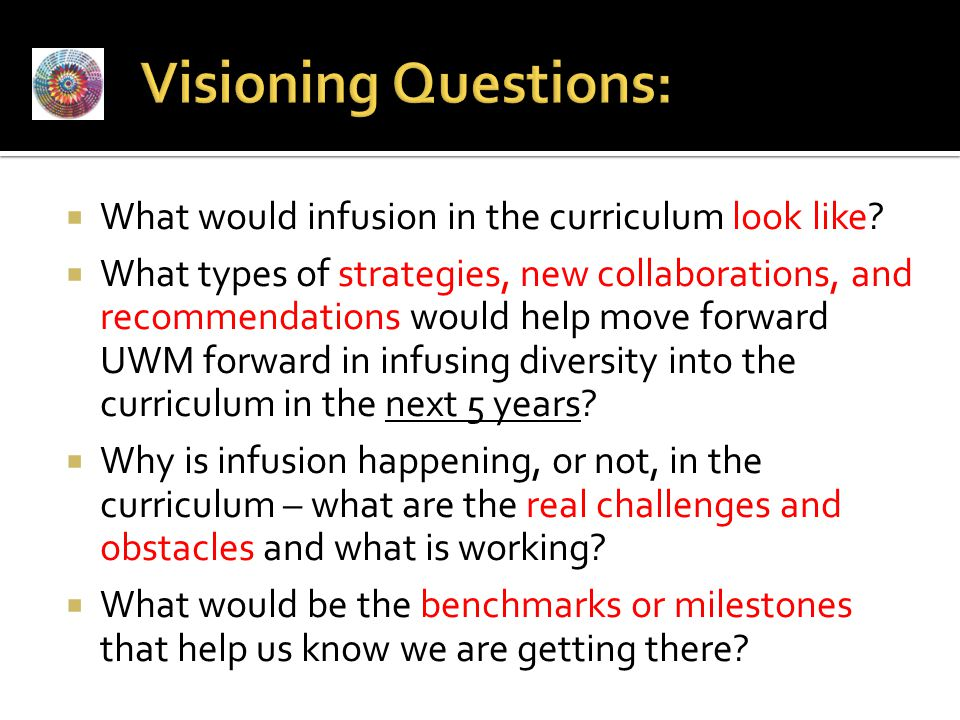 Visioning Questions: What would infusion in the curriculum look like